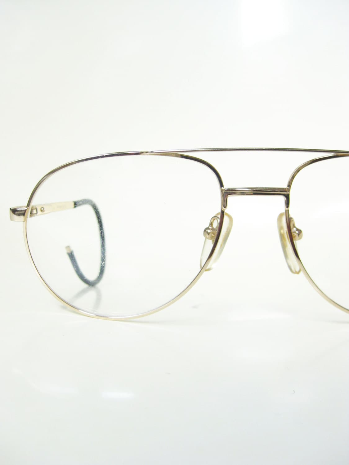Vintage Mens Wire Rim Aviator Eyeglasses Gold Golden Shiny