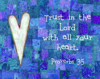 Bible Verse Art Christian Scripture Print Proverbs 3:5 Trust in the Lord