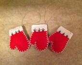 Sat of 3 Felt Mitten Ornaments
