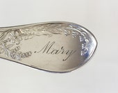 Spoon Key Chain Spoon Key Ring Silverware Keychain Lily Pattern with Mary Monogram