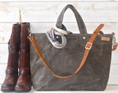Waxed canvas tote / Carry all Leather bag Diaper bag / Messenger bag Work bag / Leather straps / Men messenger / Travel bag /Zipper