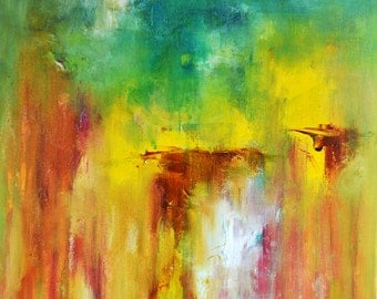 "Abstract Painting Original Wall Art Yellow Green Turquoise Modern Landscape 16""x16"""