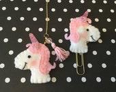 Unicorn planner clip or charm