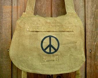 Peace Sign - Vintage Linen Hemp Czech Military Messenger Bag - Hand Painted