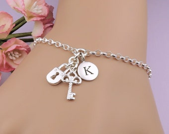 Personalized Lock and Key Bracelet - Sterling Silver Initial Bracelet - key to my heart - gift for her