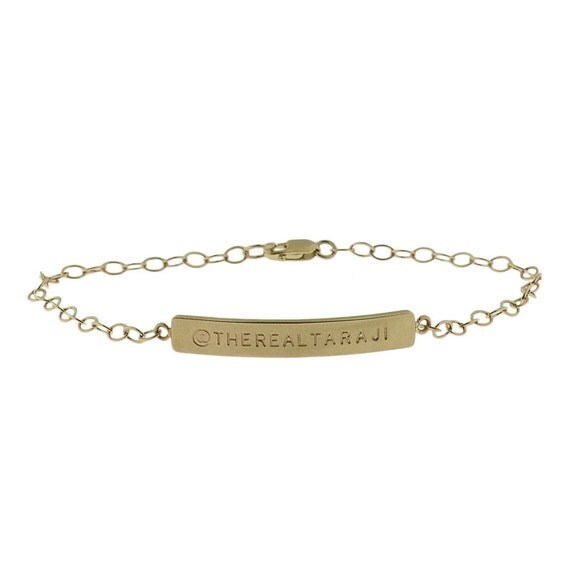 14K Yellow Gold Engravable ID Cable Bracelet Engraved Personalized Names Initials Metal Pressions