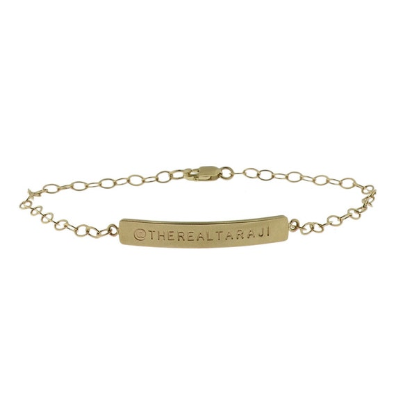 14K Gold Nameplate Bracelet Engravable Gift ID Tag Tennis Bracelet Gold Cable Chain Engraved Personalized Name Initials by Metal Pressions