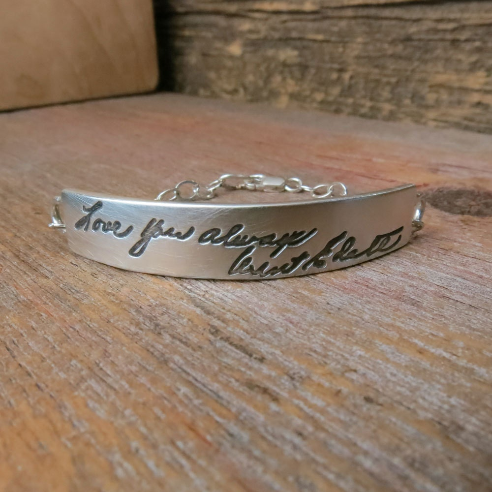 engraved handwriting jewelry silver nameplate bracelet. Black Bedroom Furniture Sets. Home Design Ideas