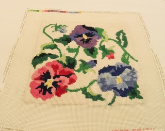 Annie & Company completed needlepoint project Jean Smith, designer Morning glorys red purple