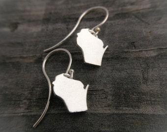 WISCONSIN Earrings Sterling Silver State Of Wisconsin Earrings Handmade Wild Prairie Silver Jewelry