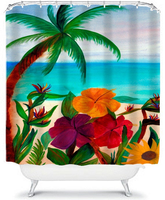 Tropical Floral Beach Art Shower Curtain by maremade on Etsy