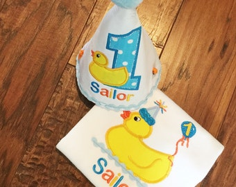 Appliqued  Birthday Duck Set