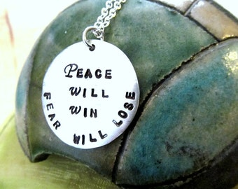 21 Pilots - Car Ride - Peace Will Win Fear Will Lose - Hand Stamped Necklace or Keychain