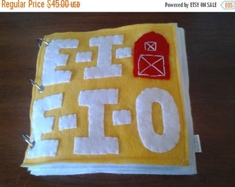 Christmas in July Sale EIEIO Farm Felt Quiet Book...  Many Activities...  Durable