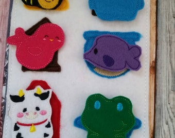 Felt Quiet Book Page - Animal home match game -  Homes Activity Page - learning - education - Habitat - Frog, Bird, Bird, Bee, Cow, Owl