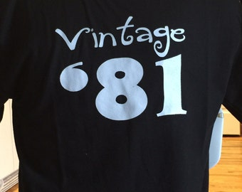 Clearance Sale Vintage '81 Shirt, 35th Birthday Gift Idea, Size Adult Large Black Only, Birthday Parties Sale