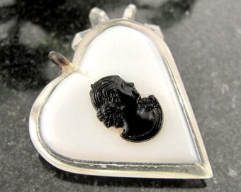 Vintage LAMINATED LUCITE CAMEO Pendant Black White Charm Silhouette