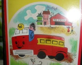 Vintage- Playskool - Magnetic Inlaid plastic Puzzle - Fire Engine / Truck - 1960 - New