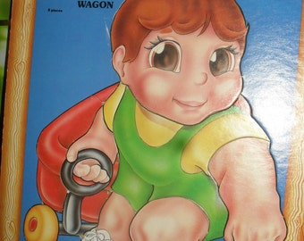 Vintage- Kids Puzzle - Sharin - Chunkies the very thick puzzle - Pulling the Wagon - 70s