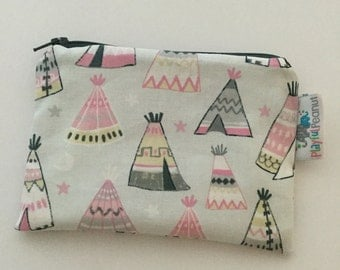 Reusable Machine Washable Zippered BPA-Free Snack-Loc Large Sandwich Small Snack Bag - Pink Grey Gray Trendy TeePee Aztec Tribal