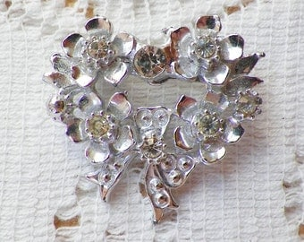 Small Vintage Silver Tone Heart Shaped Pin / Brooch / Broach with Clear Rhinestones, Flowers, Heart, Bride / Bridal / Wedding