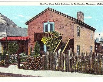 Vintage California Postcard - California's First Brick House, Monterey (Unused)