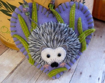 Springtime Hedgehog Ornament - Made to Order Embroidered Fiber Art