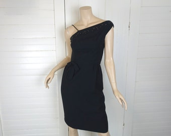 60s One Shoulder Dress in Black- 1960s Wiggle Dress / Cocktail Dress- Bombshell