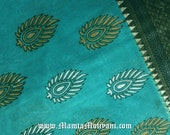 Turquoise Blue Indian Block Print Saree Fabric, Floral Printed Fabric, India Cotton, Printed Fabric, Indian Fabrics, Block Print Fabric