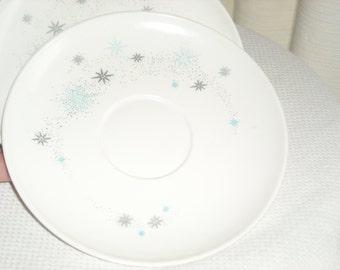 Vintage atomic pattern melamine saucers