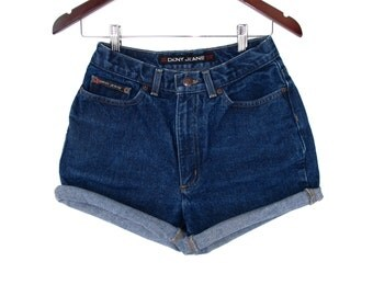 80s Hipster Curvy Girl DKNY High Waist Jean Shorts Denim W 26 27 cut-off shorts Roll Up Heavy No Stretch Blue Jean Cheja
