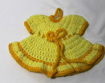 NEW Hand Crocheted Baby Dress Wall Hanging, Trivet, Yellow & Gold