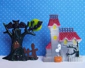 "Haunted House and Tree Miniature Cake Toppers , House is 2 3/8"" tall Plastic"
