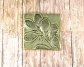Handmade Ceramic Decorative Tile - Wall Art - 4 x 4 Tile - Leaf Tile - Cherry Leaves - 991