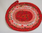 Sparkling Red Coiled Fabric Table Mat, Red Candle Mat