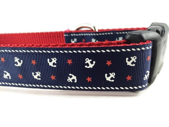 Dog Collar, Blue Anchors, 1 inch wide, adjustable, quick release, metal buckle, chain, martingale, hybrid, nylon