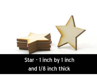 Unfinished Wood Star - 1 inch by 1 inch and 1/8 inch thick wooden shape (STAR02)
