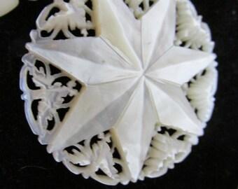 Necklace Star of Bethlehem Mother Of Pearl  Carved Filigree