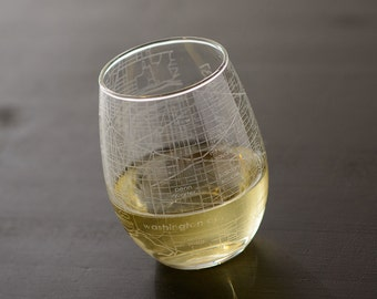 Washington DC Maps Stemless Wine Glass