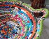 Gypsy - Round Coiled Bohemian Basket, Colorful, Hippie, Boho, Scrappy Basket, Handmade Fabric Bowl