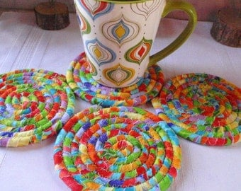 Floral Print Coiled Coasters - Set of 4 for Kitchen, Absorbent Coasters, Handmade by Me