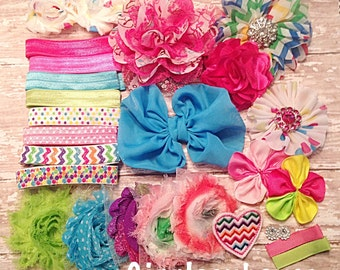 DIY Headband Kit- Rainbow Headband Kit- Makes 8 headbands, Baby Shower Station- Feltie Headband- Baby Headband Kit- DIY Supplies
