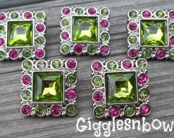 Sale Rhinestone Buttons- 5pc Lime/Shocking Pink Rhinestone Buttons- 25mm Headband Supplies-Diy Supplies- Sewing Button- Diy Baby Headband
