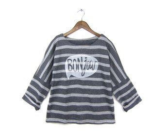 Bonjour Sweatshirt - Oversized Crew Neck Long Sleeve Tunic Sweater in Heather Grey and White Stripe - Women's S M L Q