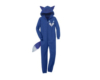 Geo Arctic Fox Onesie - Fox Footie PJs/Unisex Hoodie with Ears/Fleece Zip Jumper/Fox costume/Fox Sweater/Fox Ears Hoodie/Blue Womens Onesie