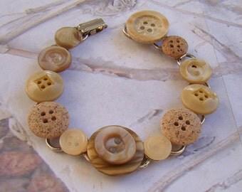 Sweet Vintage Button Bracelet Shades of Taupe Browns Pretty Little Bracelet