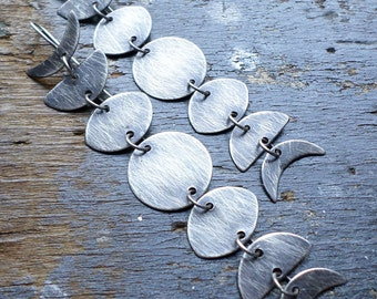 Sterling Silver Lunar Phases Earrings, Ancient Primal Mystical Full Moon Celestial Night Sky Astronomy Urban Charcoal Moon Phases Earrings