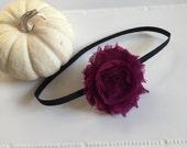 single shabby rose newborn headband