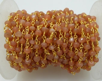 peach moonstone rosary chain