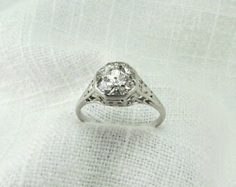 On Sale! Appraisal Value: 11,900.  Circa 1915 Platinum Ring with French Cut Diamonds, VS2 Clarity.